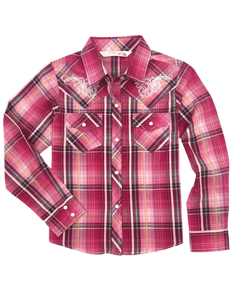 Cumberland Outfitters Girls' Pink Plaid Embroidered Snap Long Sleeve Western Shirt, Pink, hi-res