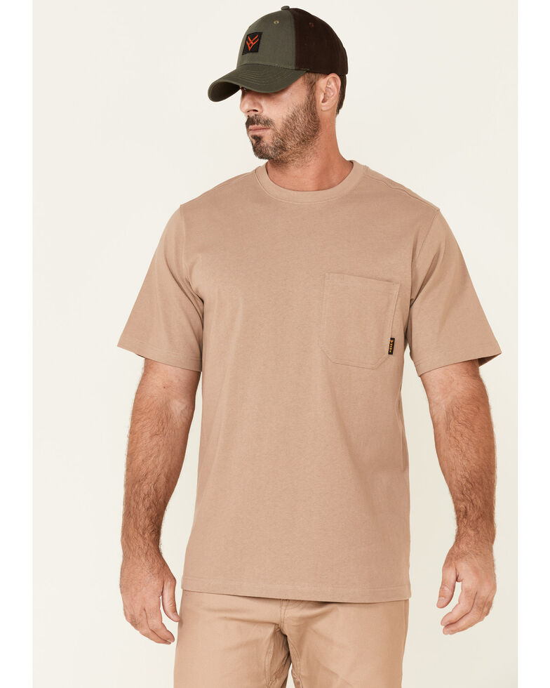 Hawx Men's Solid Natural Forge Short Sleeve Work Pocket T-Shirt - Tall, Natural, hi-res