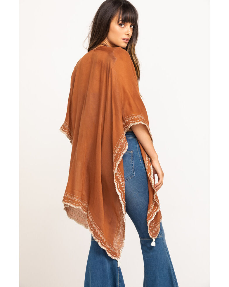 Shyanne Women's Burnt Sienna Beaded Trim Embroidered Woven Poncho Shawl, Rust Copper, hi-res
