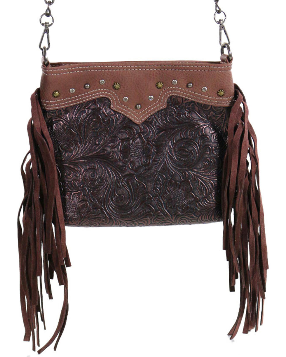 Way West Women's Fringe and Floral Crossbody Bag, Brown, hi-res