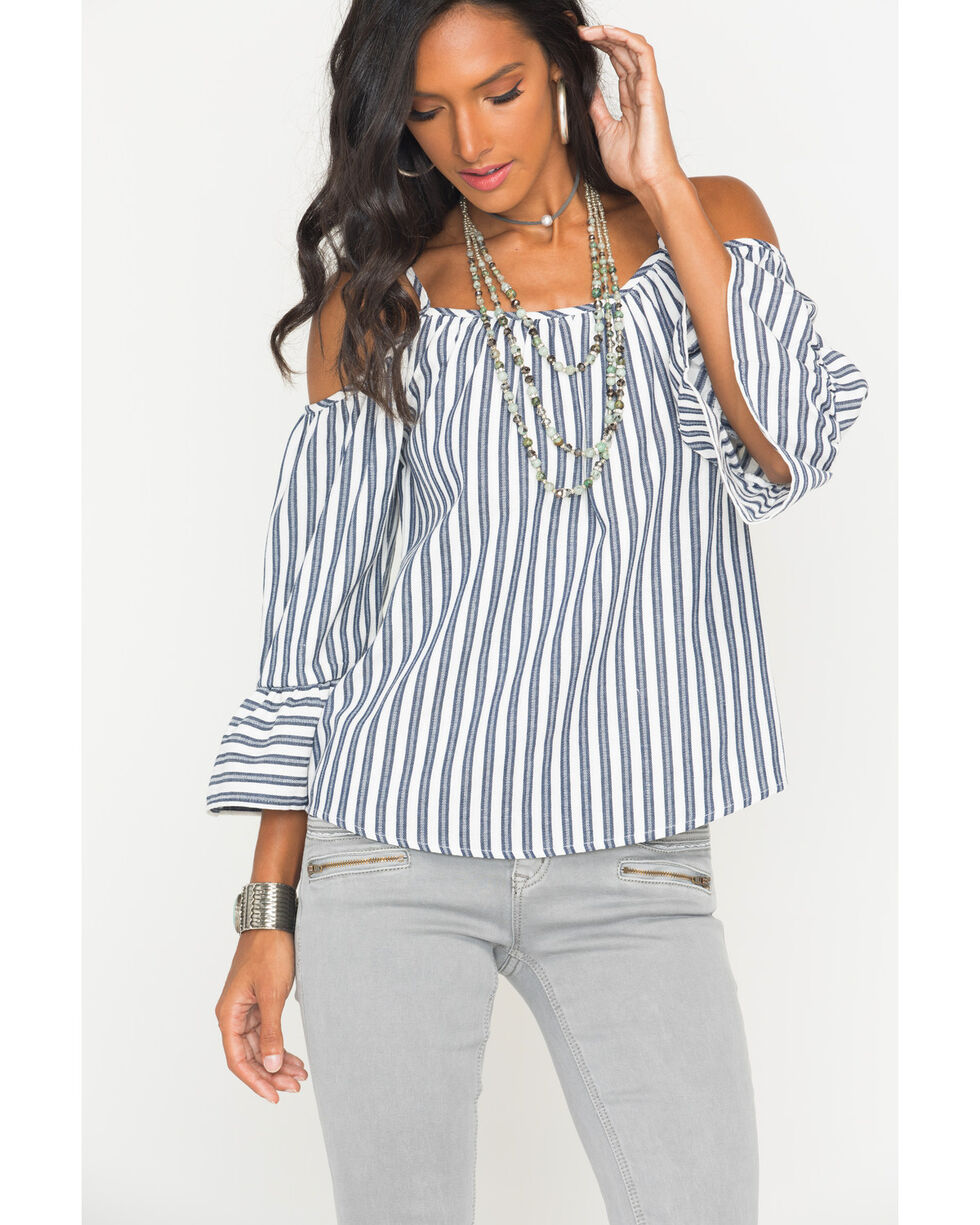 Polagram Women's Navy Cold Shoulder Stripe Top , Navy, hi-res