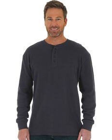 Wrangler Riggs Men's Navy Thermal Henley Long Sleeve Work T-Shirt , Navy, hi-res