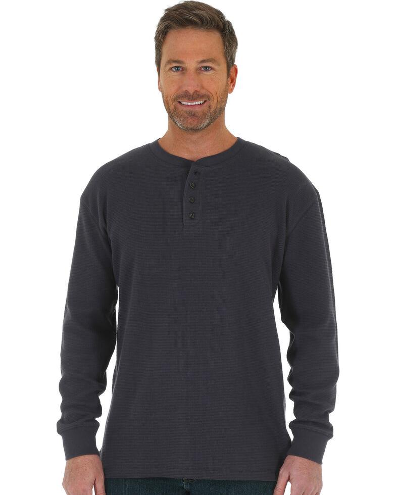 Wrangler Riggs Men's Navy Thermal Henley Long Sleeve Work T-Shirt , Navy, hi-res