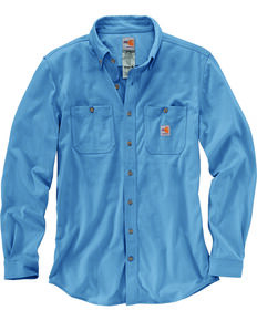 Carhartt Men's Blue Flame-Resistant Force Hybrid Long Sleeve Work Shirt , Medium Blue, hi-res