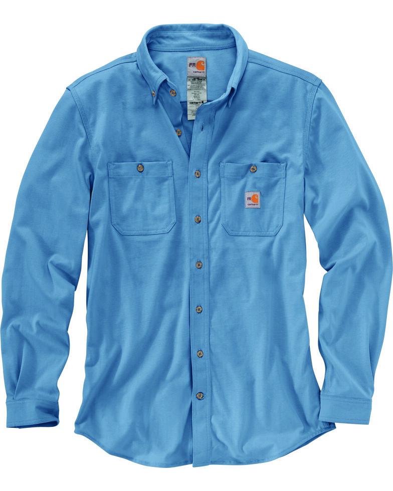 Carhartt Men's Blue Flame-Resistant Force Hybrid Long Sleeve Work Shirt , Medium Blue, hi-res