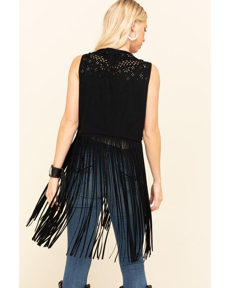 Idyllwind Women's Gypsy Fringe Faux Suede Vest, Black, hi-res