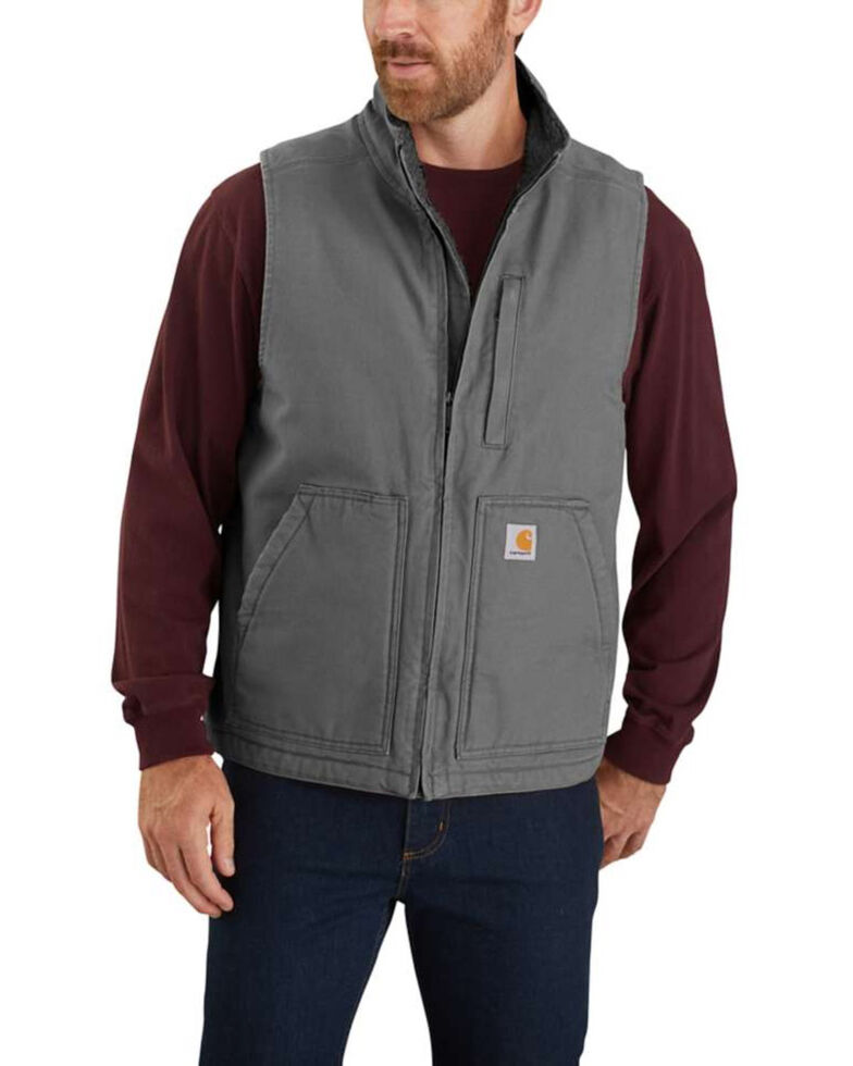 Carhartt Men's Gravel Washed Duck Sherpa Lined Mock Neck Work Vest - Tall , Grey, hi-res