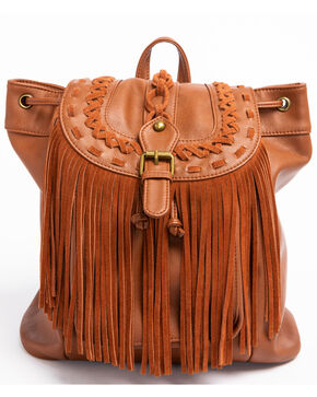 Shyanne Women's Fringe Backpack, Brown, hi-res