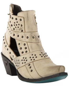 Lane Women's Cream Stud and Straps Fashion Boots - Snip Toe , Cream, hi-res