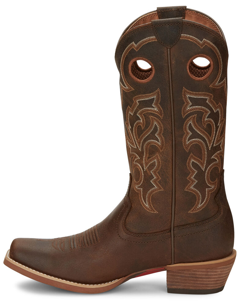 Justin Men's Puncher Brown Western Boots - Wide Square Toe, Brown, hi-res