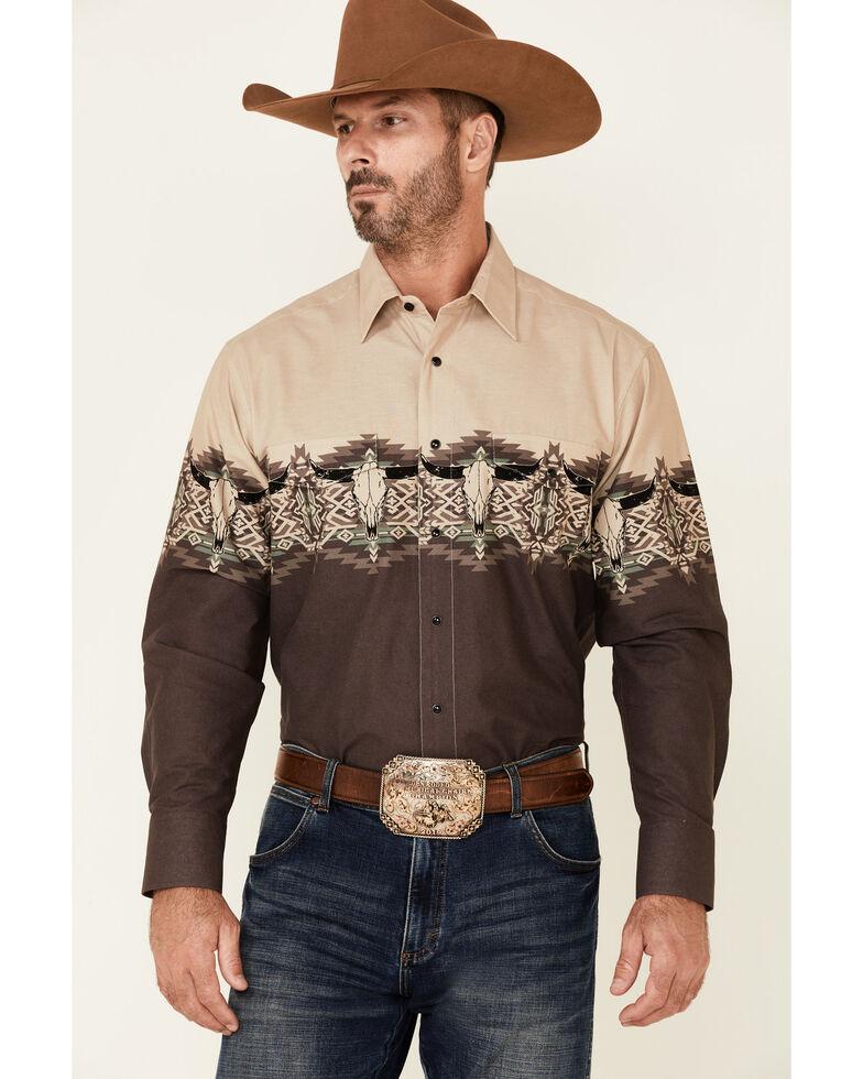 Panhandle Men's Brown Aztec Longhorn Border Print Long Sleeve Snap Western Shirt , Brown, hi-res
