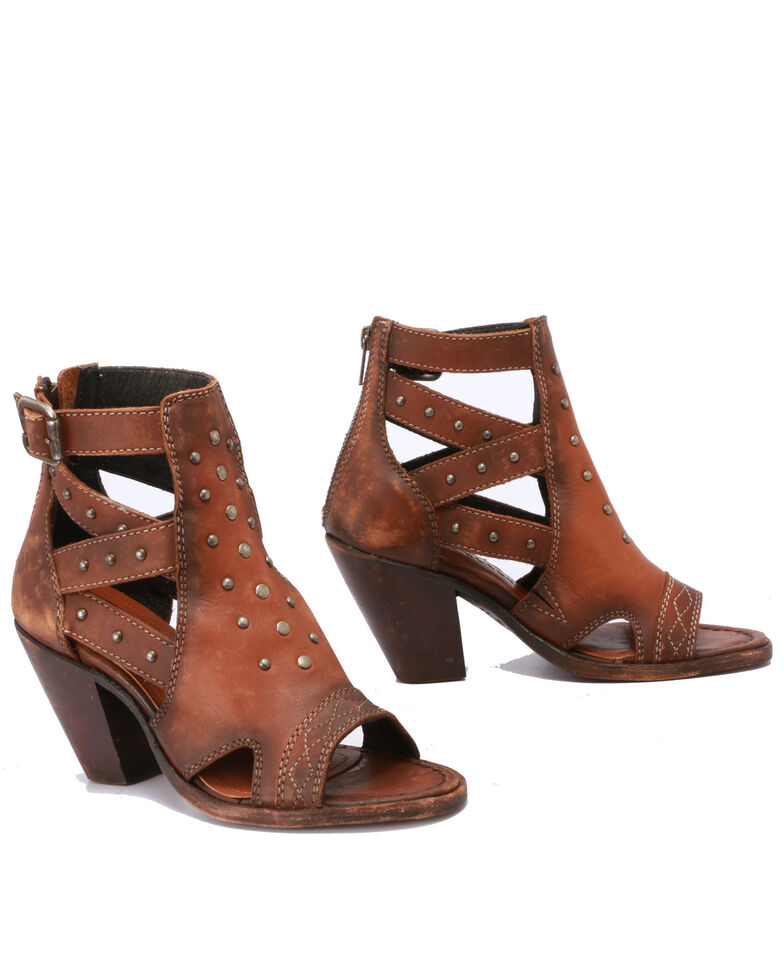 Liberty Black Women's Pecan Peep Toe Sandals, Cognac, hi-res