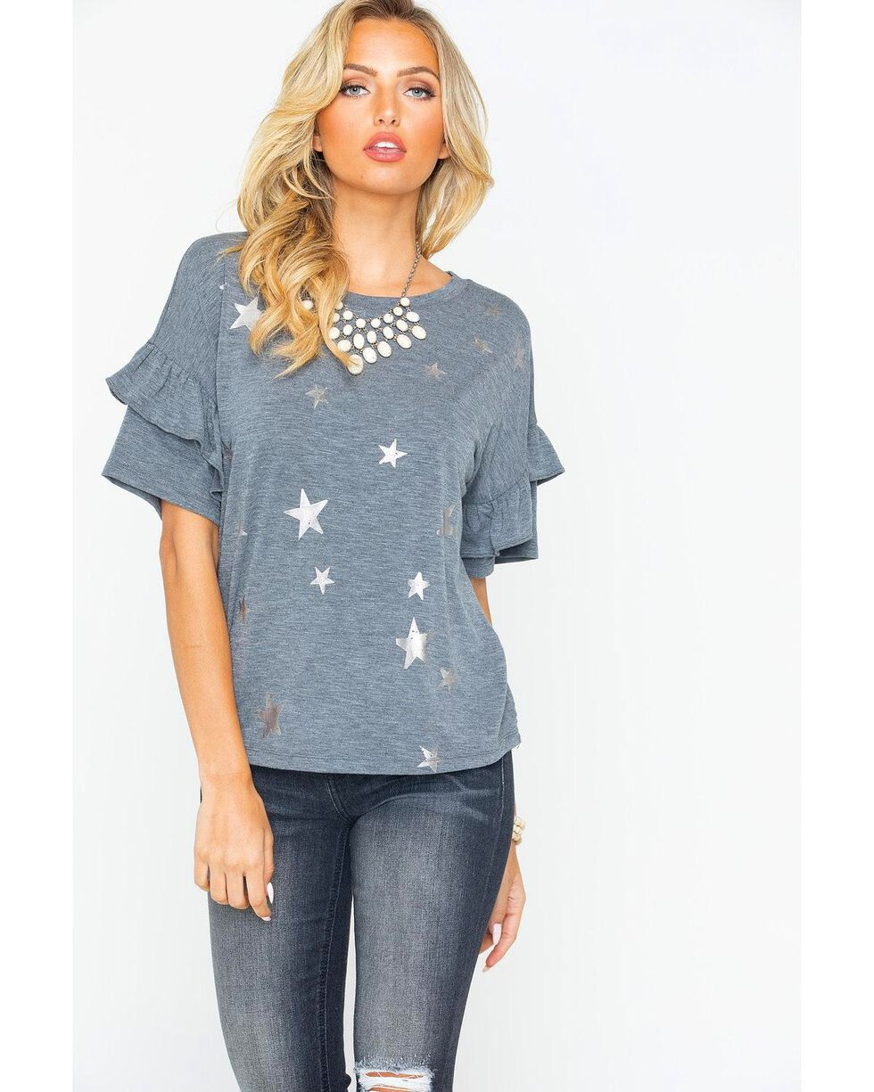 Miss Me Women's Star Print Ruffle Top , Charcoal, hi-res