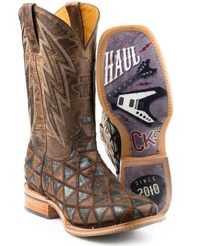 Tin Haul Men's Patchwork Vamp Western Boots - Square Toe, Black, hi-res