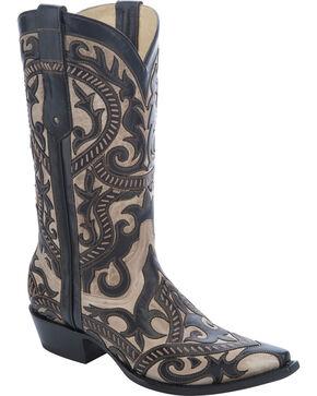 Corral Men's Overlay Snip Toe Western Boots, Black, hi-res