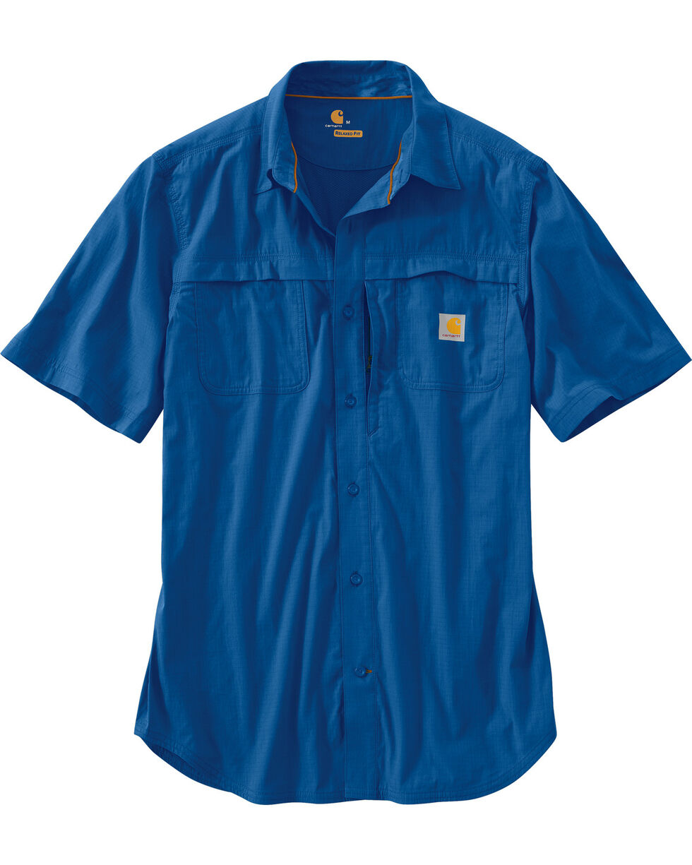 Carhartt Force Mandan Men's Short Sleeve Shirt, Blue, hi-res