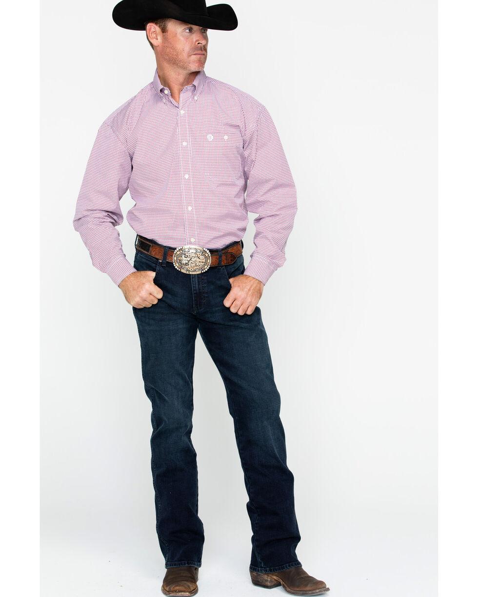 George Strait by Wrangler Men's Mini Check Plaid Long Sleeve Shirt, Blue/red, hi-res
