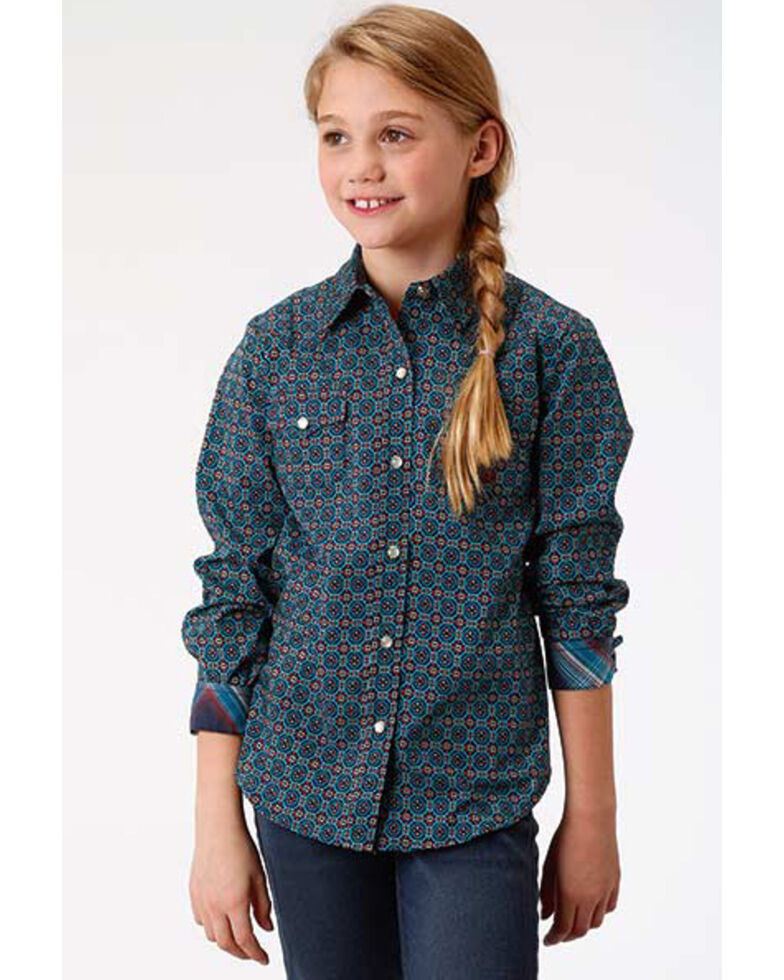 Roper Girls' Blue Geo Print Snap Long Sleeve Western Shirt, Blue, hi-res