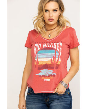 Panhandle Women's White Label Rio Grande Desert Graphic Knit Top , Coral, hi-res