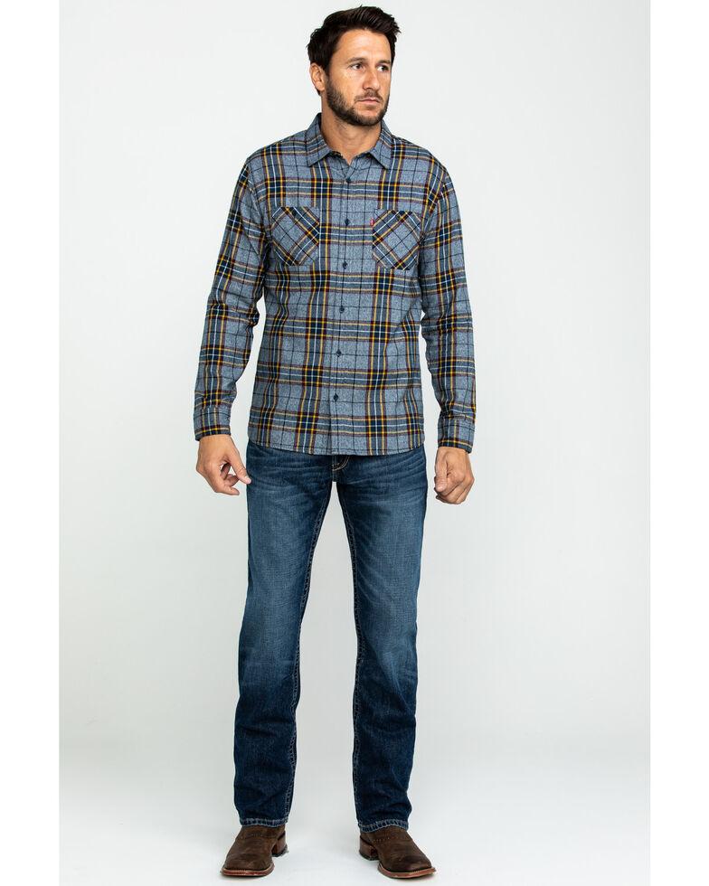 Levis' Men's Crance Plaid Long Sleeve Western Flannel Shirt , Blue, hi-res