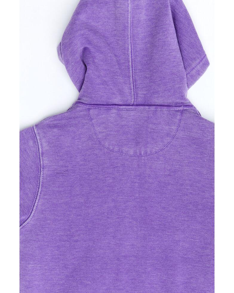 Cowgirl Hardware Girls' Purple Wild & Free Zip-Up Hooded Sweatshirt , Purple, hi-res