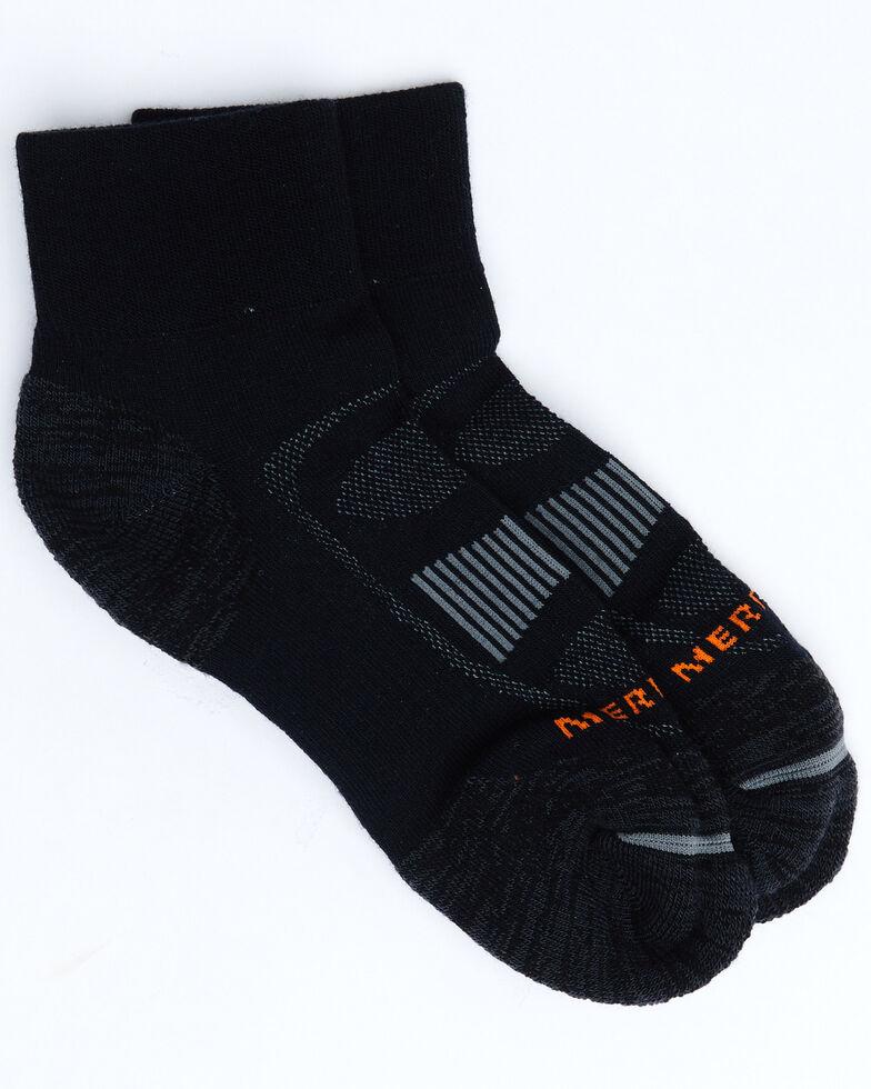 Merrell Men's Zoned Quarter Crew Socks, Black, hi-res