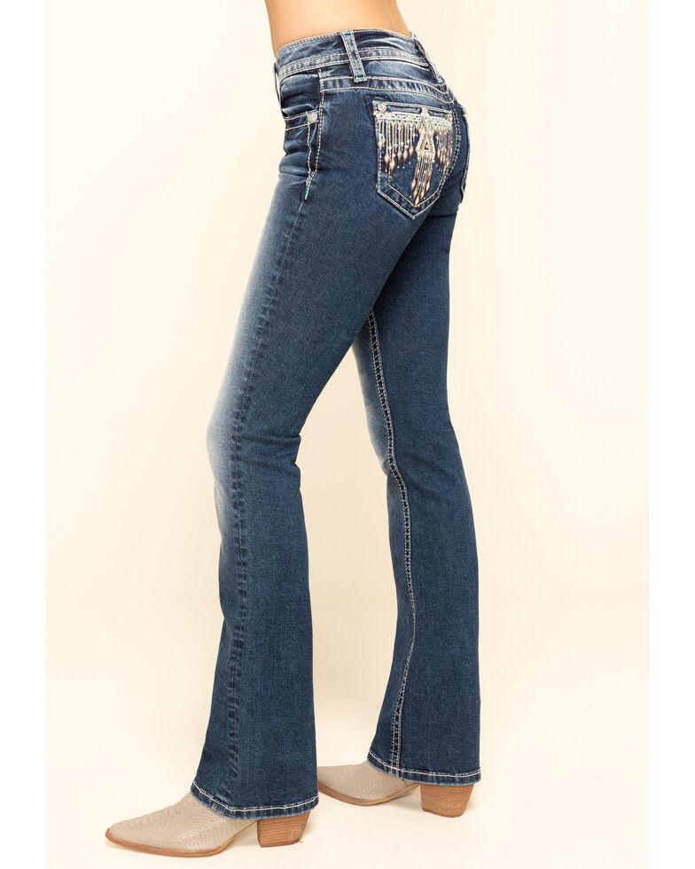 Miss Me Women's Boho Tribal Eagle Chloe Bootcut Jeans , Blue, hi-res
