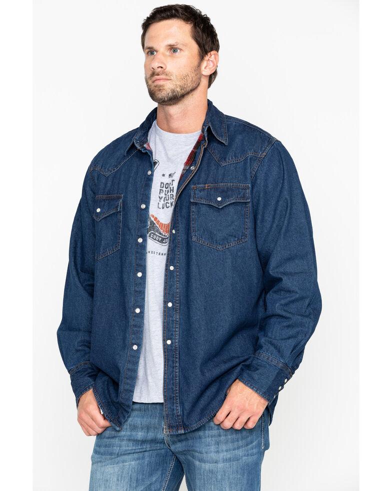 Ely Cattleman Men's Flannel Lined Denim Long Sleeve Western Shirt Jacket, Blue, hi-res