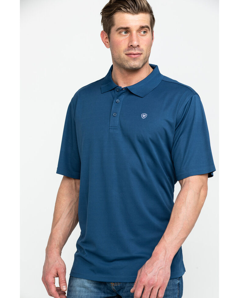 Ariat Men's Dark Blue TEK Short Sleeve Polo Shirt , Blue, hi-res