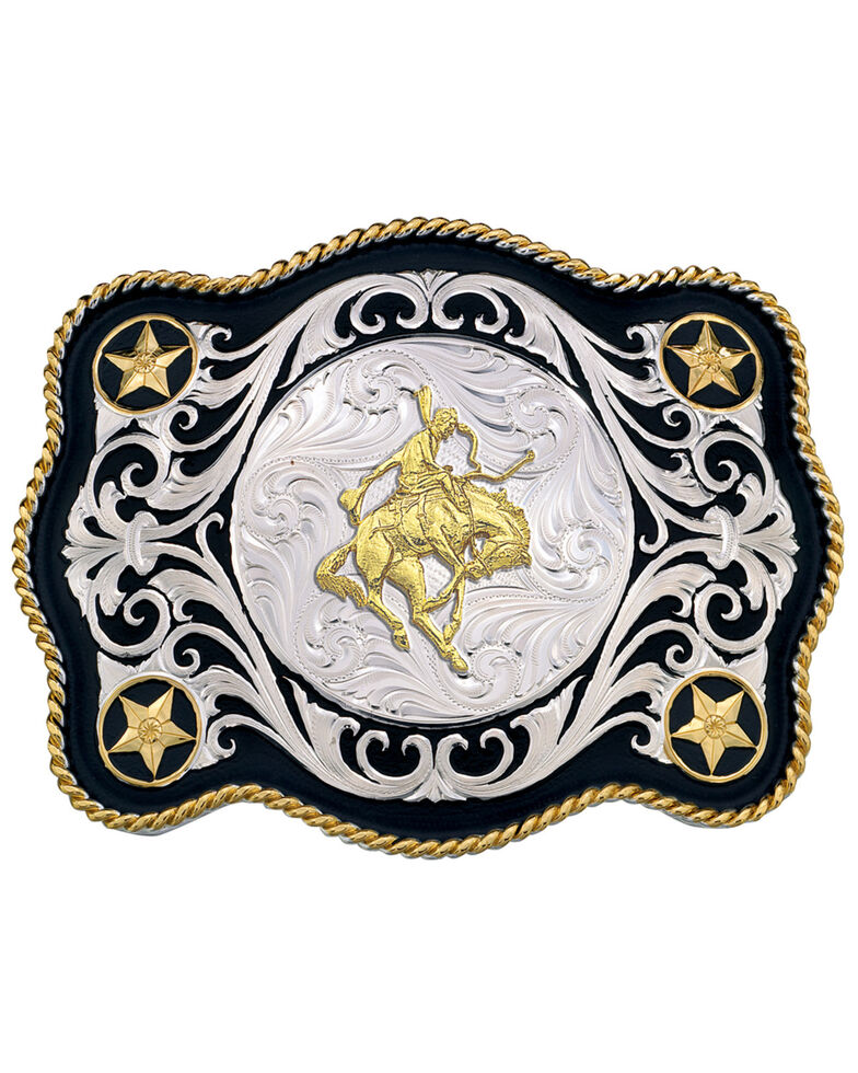 Montana Silversmiths Men's Scalloped Sheridan Belt Buckle, Multi, hi-res