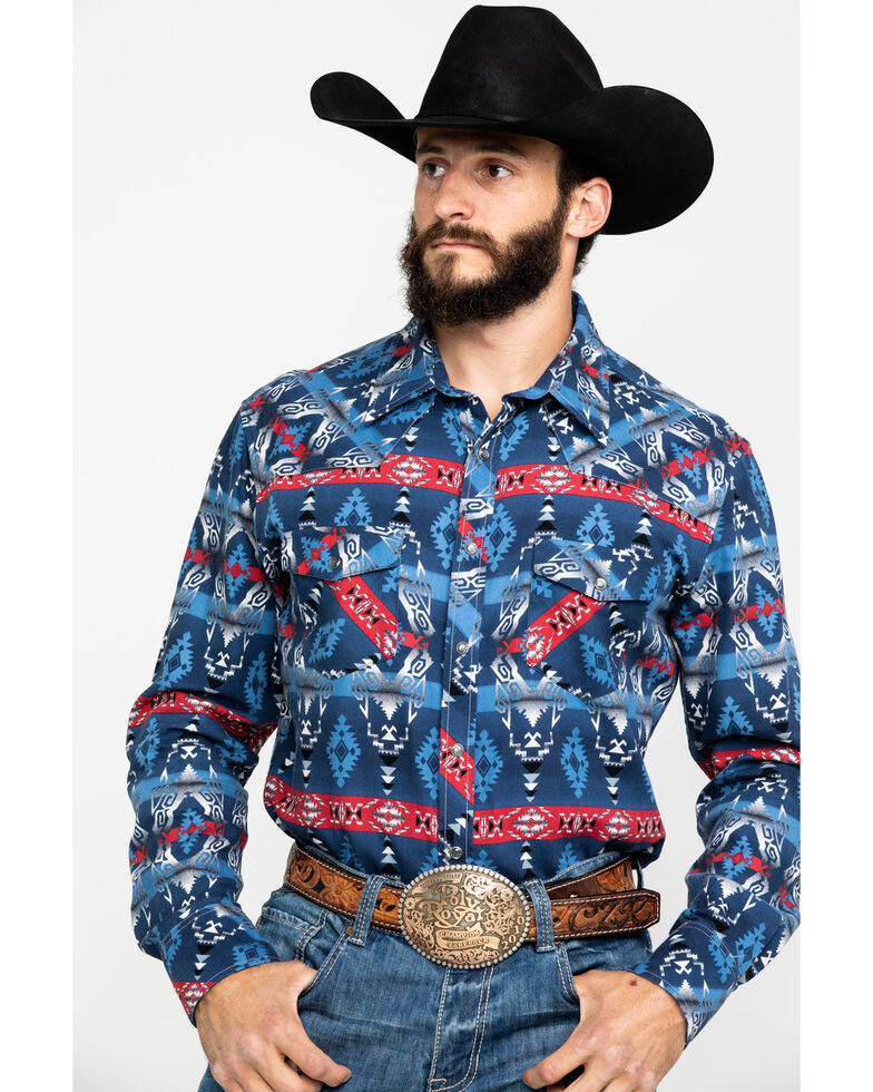 Dale Brisby Men's Enzyme Washed Aztec Print Long Sleeve Western Shirt , Indigo, hi-res