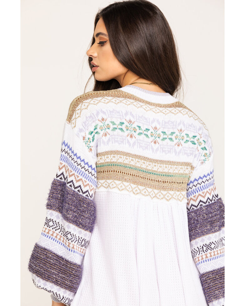 Free People Women's Cabin Fever Embroidered Thermal Top, White, hi-res