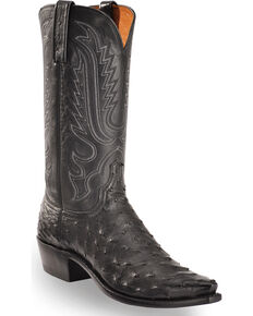 Lucchese Men's Handmade Luke Black Full Quill Ostrich Western Boots - Snip Toe, Black, hi-res