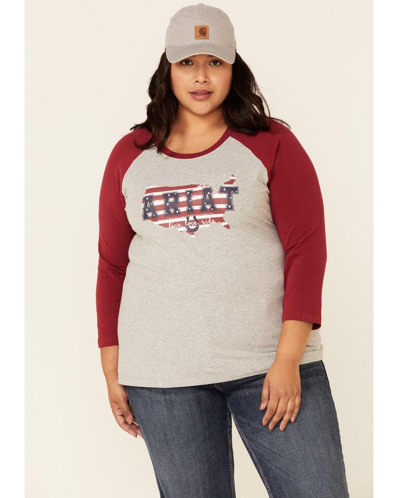 Ariat Women's R.E.A.L Peachy Keen Long Sleeve Raglan Tee - Plus, Heather Grey, hi-res