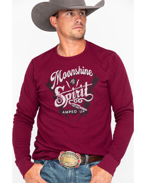 Moonshine Spirit Men's Amped Up Long Sleeve Thermal Shirt - 2XL , Maroon, hi-res