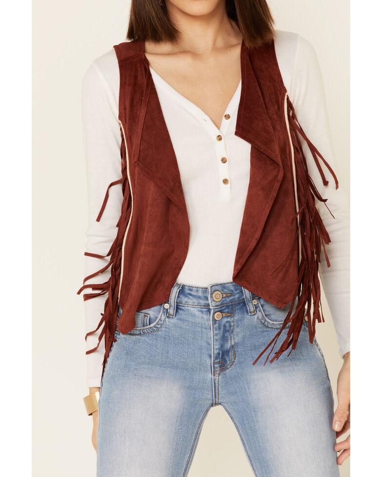 Shyanne Women's Rust Faux Suede Embroidered Fringe Vest, Rust Copper, hi-res