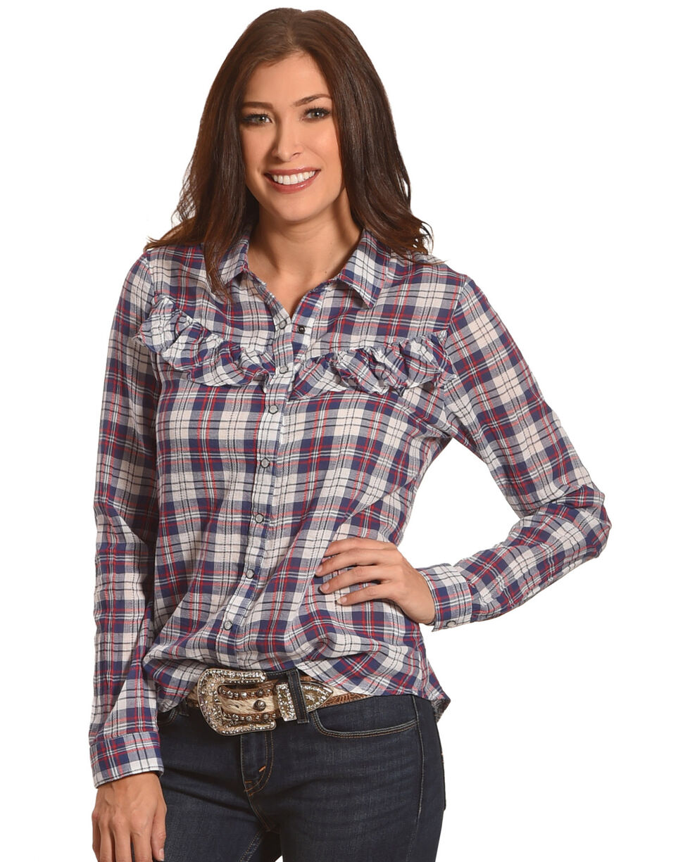 White Crow Women's Red Plaid Ruffle Shirt , Red/white/blue, hi-res