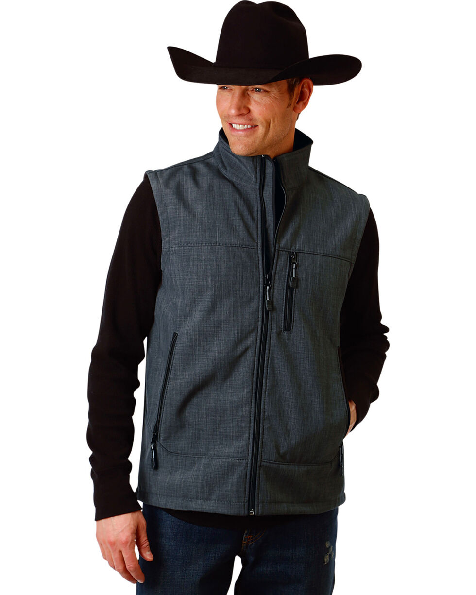 Roper Men's Grey Bonded Fleece Vest , Grey, hi-res