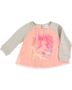 Shyanne® Toddler Girls' Horse Glitter Tulle Top, Pink, hi-res