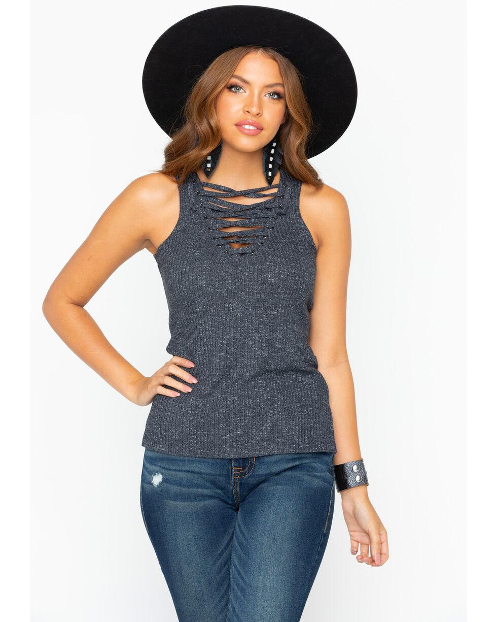 Shyanne Women's Knit Tank Lace Up Top, Charcoal, hi-res