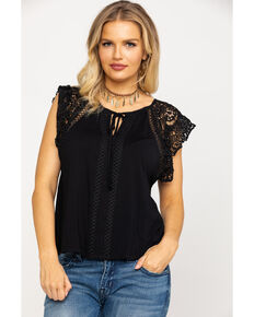 e1b800c3dbf0f Miss Me Women s Black Lace Short Sleeve Top