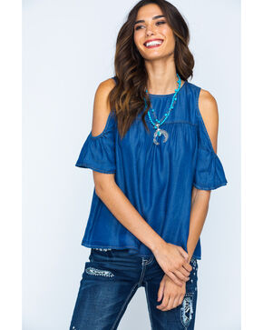 Glam Women's Cold Shoulder Top , Indigo, hi-res