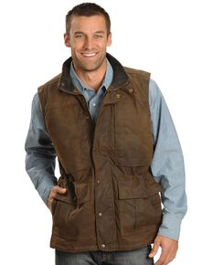 Outback Trading Men's Oilskin Deer Hunter Vest, Brown, hi-res