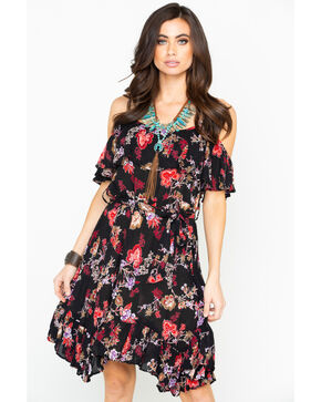 Nostalgia Women's Floral Print Cold Shoulder Dress , Black, hi-res