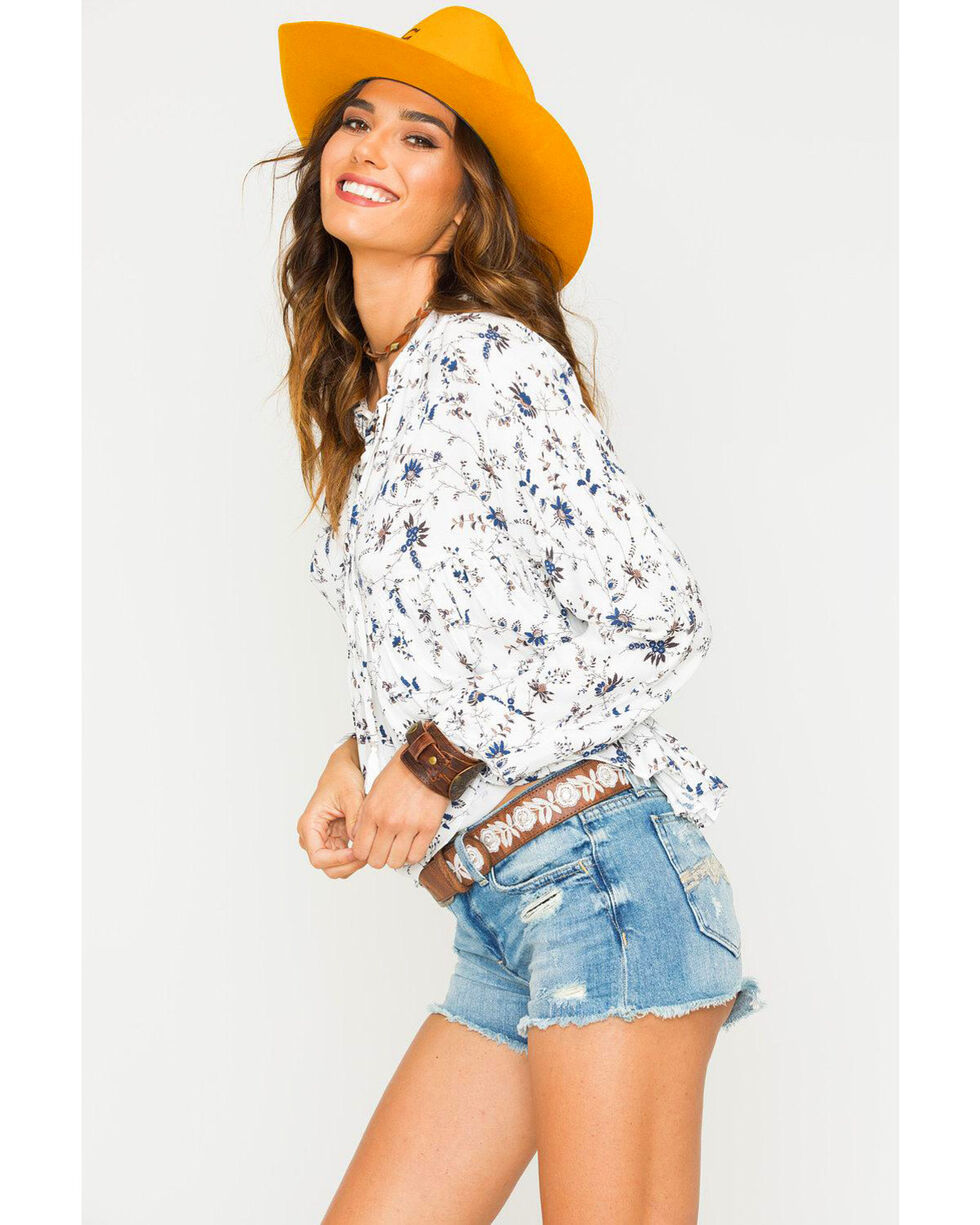 Sage the Label Women's Ivory Floral Print Peasant Top , Ivory, hi-res