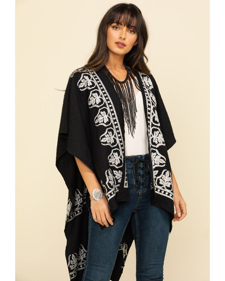 Shyanne Women's Black Embroidery Shawl, Black, hi-res