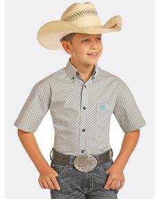 Panhandle Select Boys' Grey Peached Poplin Print Short Sleeve Western Shirt , Grey, hi-res
