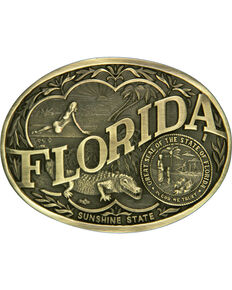 Montana Silversmiths Florida State Belt Buckle, Gold, hi-res