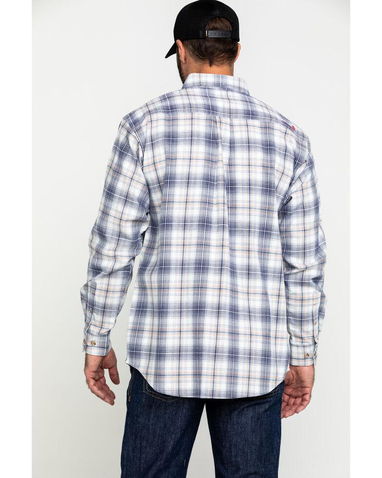 Ariat Men's FR White Foraker Plaid Long Sleeve Work Shirt - Tall , No Color, hi-res