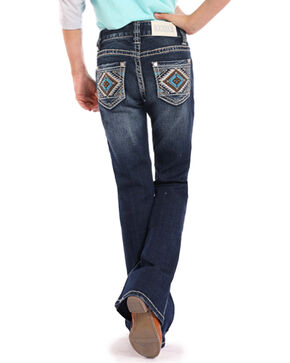 Rock & Roll Cowgirl Girls' Aztec Embroidered Dark Wash Jeans - Boot Cut, Indigo, hi-res